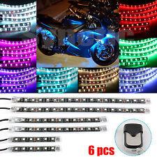 6pcs Motorcycle Light Strip Multi-Color RGB Flexible Remote Kit Car ATV LED