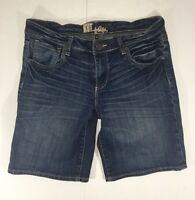 Kut From The Kloth Blue Denim Shorts Size 6 Distressed Thick Stitch Stretch