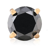 3/4ct Black Diamond Single Stud Earring 14K Yellow Gold
