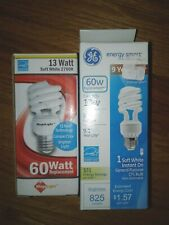 2 x soft white 2700K  3W 60W equivalent Energy Smart  CFL light Bulbs spiral GE