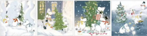 Moomin Blank Square Christmas Card Cutting, Carrying, Decorating the Tree, Feast