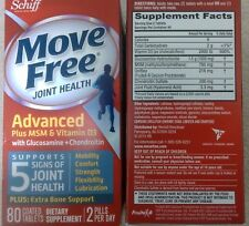 NEW Schiff Move Free Advanced + MSM & Vitamin D3 - 80tab - EXP 2019/02 or later