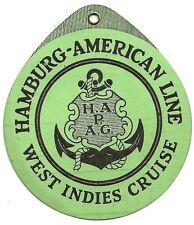 Hamburg American Line West Indies Cruise vintage Luggage Tag Ӝ
