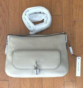 ~~NEW!! Marc Jacobs Lock That Leather Messenger Bag Crossbody Purse Light Slate