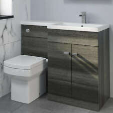 1100mm Bathroom Vanity Unit Basin & Square Toilet Combined Furniture R/Hand Grey