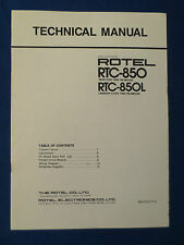 ROTEL RTC-850 PREAMP TUNER TECHNICAL SERVICE MANUAL ORIGINAL