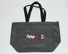 CANVAS Zippered Tote Bag GRAY with Embroidered NURSING Design, RN School Bag