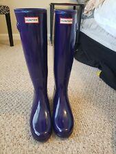 NEW Hunter Tall Gloss Rain Boots - Blue - Size 8