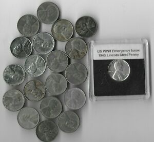 Rare Old WWII US Collection Steel Penny USA WW2 20 Coin Cent Vintage Big War Lot