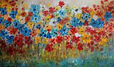Daisies Colorful Impasto Canvas Painting White, Blue, Yellow, Orange, Red