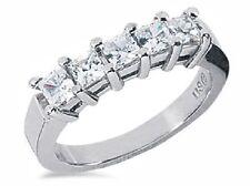 1 Carat total, 5 Princess cut Diamond ring 14K White Gold Wedding Band, E VS