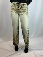Roberto Cavalli Leopard Print Lace Up Closure Jeans with Snake Emblem