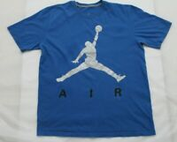 Nike Mens Sz Large Blue Iconic Air Jumpman Spellout Logo Tee Shirt