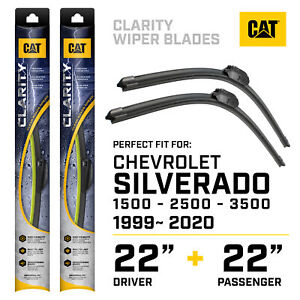"""CAT Clarity Windshield Wiper Blades 22+22"""" Exact Fit 2000-2020 Chevy Suburban"""