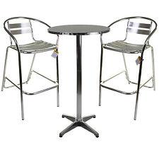 Marko Aluminium Lightweight Chrome Bistro Bar Furniture Set High Table & Stools
