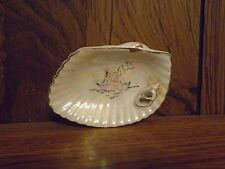 Vintage Oyster Shell Soap Dish with Gold Trim
