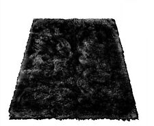 Soft Shaggy Faux Fur Area Rug Throw Accent Play Rug Plush BLACK Rectangle 5x10