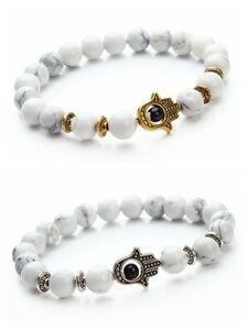 New Hamsa Hand of Fatima Natural Lava Stone Gold Silver Beads Man Lucky Bracelet