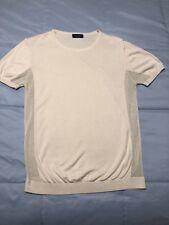 Men's Zara Openwork Short Sleeves Sweater, Beige, Size S