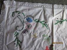 square handmade vintage embroidered tablecloth beautiful handwork 50s era 72cm