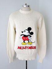 VGC Vtg 70s Disney Character Fashions Cotton Blnd Sweater Carpet Mickey Patch XL