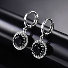 HUCHE Round Black Diamond Gemstone Silver Gold Filled Drop Lady Banquet Earrings