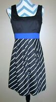 Womens Maurices Size 7/8 Black & White Stripe Blue Tie Back Career Dress