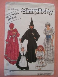 Simplicity 9809 Angel Witch Pilgrim Girls Halloween Special Size BB 2-12 Uncut