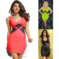 Sexy Casual Clubwear Sleeveless Black Mesh Cut Out Stretch Bodycon Party Dress