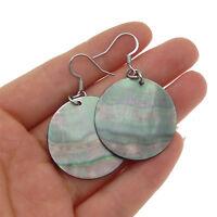 Korea New Design Pearl Geometric Big Round Circle Shell Drop Earrings For Women