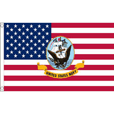 Usa Navy Logo Flag 5Ft X 3Ft American Naval Military Banner With 2 Eyelets New