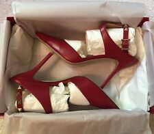 Valentino High Heel Red Shoes With Rockstud Ankle Strap Size 38 New In Box