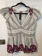 RARE Anthropologie Lithe Midnight Sun Top Blouse Embroidered Size 6