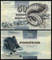 FAEROE ISLANDS 50 KRONUR 2001 P24 UNCIRCULATED