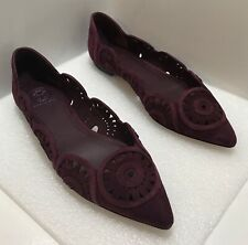 Tory Burch Laser Cut Burgundy Suede Pointed Toe Ballet Flats 7M