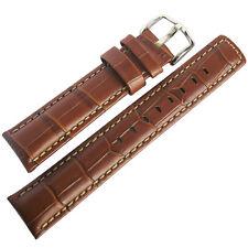 20mm Hirsch Grand Duke Mens Gold-Brown Alligator-Grain Leather Watch Band Strap