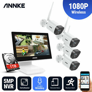 ANNKE WLAN Wireless 4CH NVR 1080p CCTV IP Audio Camera Home Security System 1TB