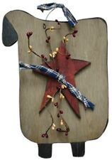 Aged  Primitive~Hanging`Wooden Wood `Sheep``Homespun and Star`Pip Berries``
