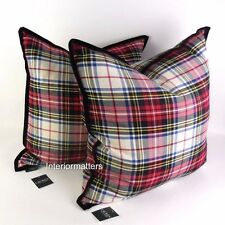 2 RALPH LAUREN TARTAN PLAID THROW TOSS PILLOW SET black red NWT polo
