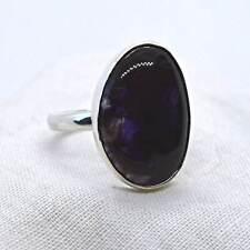 Blue John Fluorite 925 Silver Ring RARE Genuine Derbyshire Crystal Size P US 8