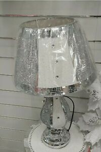 Crushed Diamond White/Silver Vase Lamp Bling Table Lamp Shade with free Led bulb