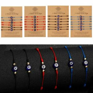 6pcs Lucky Turkish Evil Eye bracelet Kabbalah Amulet 7 Knots Protection Rope Lot
