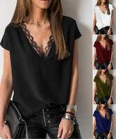 Women V-Neck Loose Chiffon Top Blouse Ladies Casual Tops T-Shirt Fashion