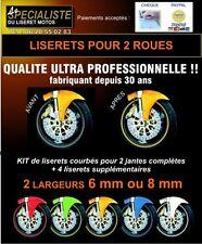 LISERETS JANTES STICKER AUTOCOLLANT MOTO  TOUTES MARQUES 6 - 8 ou 10mm AU CHOIX