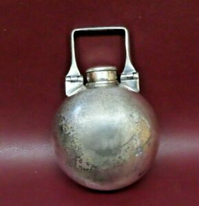 """Antique Very Unique 3"""" Oblong Silverplate Ball Flask w/ Swivel Handle c. 1900"""
