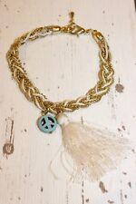 Armband NEU Armkette gold weiß Peace türkis symbol Nickel Frei Quaste creme