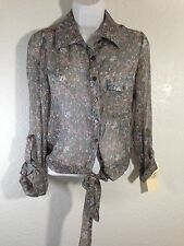 NWT Band Of Gypsies Women's Sheer Button Down Tie Bottom Floral Size XS