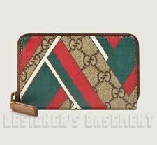 GUCCI Web CHEVRON GG Supreme Canvas & brown Leather POUCH Case wallet NIB Authen