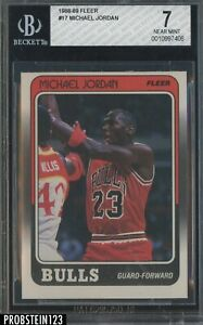 1988-89 Fleer Basketball #17 Michael Jordan Chicago Bulls HOF BGS 7 NM