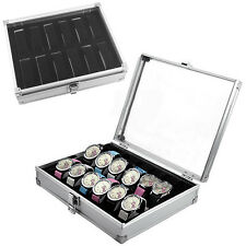 Silvery 12 Grid Wrist Watch Display Box Storage Holder Organizer Aluminium Case